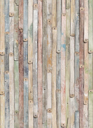 Vintage Wood Wall Mural-vintage rustic wood mural with green and blue tones.