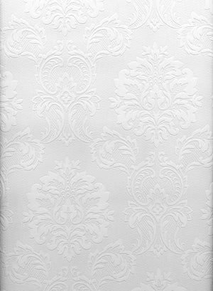 Damascene Regal Print Paintable Wallpaper-A high class damask design that is completely customizable with the paint of your choice