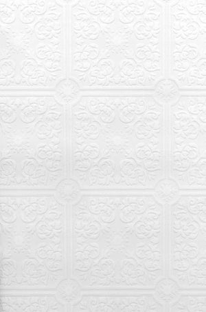 Hacienda Tile Texture Paintable Wallpaper-A paintable textured wallpaper with a lovely tile design. done in white