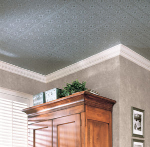Hacienda Tile Texture Paintable Wallpaper-A paintable textured wallpaper with a lovely tile design. put on ceiling and painted grey