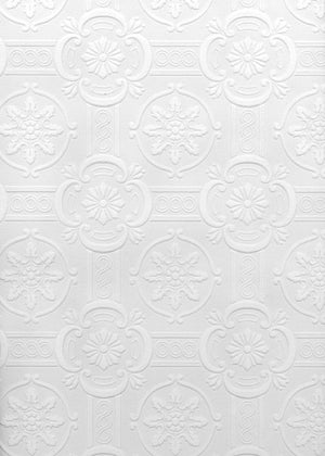Reuben Ornate Tiles Paintable Wallpaper-white floral textured tile