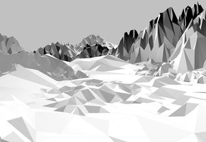 Icefields Wall Mural-A sprawling greyscale mountain range is simplified into planar shapes for a sleek look.
