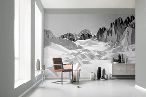 Icefields Wall Mural-A sprawling greyscale mountain range is simplified into planar shapes for a sleek look.  Hung on wall by balcony doors.