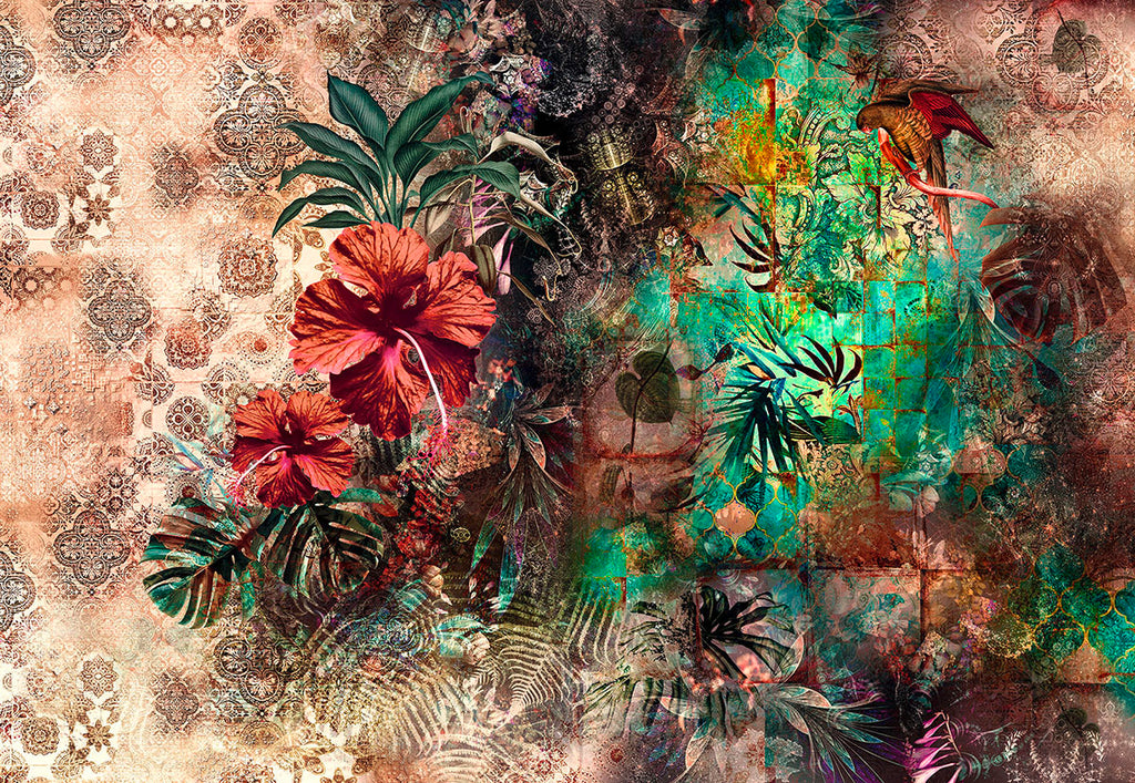 Sherazade Wall Mural-Beautiful red hibiscuses and green palm fronds pop against a beige background.