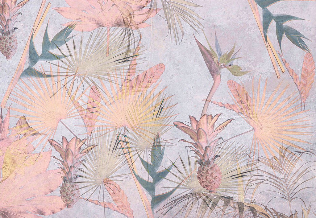 Tropical Concrete Wall Mural-Pleasant pineapples seem to samba amongst birds of paradise flowers and palm fronds with delightful pastel pink, lavender and green hues.