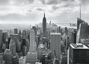 NYC Black and White Wall Mural-The Empire State Building rises against the New York City skyline at the center of this impressive black and white mural.