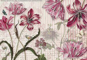 Merian Wall Mural-Tulips and butterflies are layered over pink and white stripes with scrolling words and sketches.