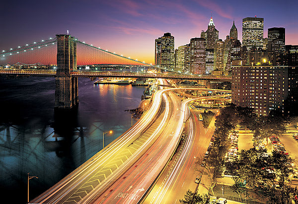 Nyc Lights Wall Mural-all the lights of the city at sunset, include streetlights, bridge and buildings.