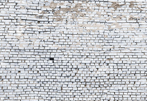 White Brick Wall Mural (SKU 8-881) Create a modern feature wall with this slightly distressed, white brick design. Realistic details make the mural seem three dimensional and textured.