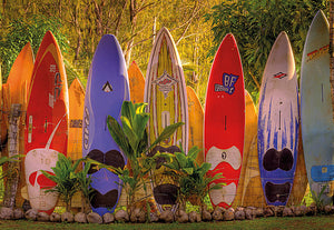 Maui Wall Mural-Hawaiian scene of surfboards leaning on a fence, complete with tropical trees and coconuts