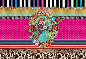 Millimello Zebra Wall Mural-This posh mural showcases a vivid palette of colors, centered around a very fashionable zebra cameo with different design elements.