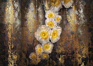 Serafina Wall Mural-A string of poppies that flourish from top to bottom coated in a golden sheen.