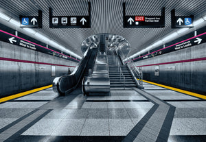Subway Wall Mural-subway showcases sleek lines and a bevy of texture.