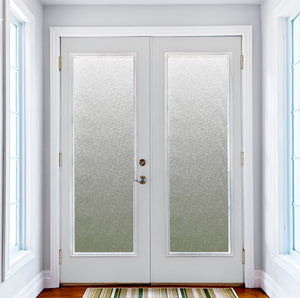 Fibers Door Privacy Film-is a blue/grey static cling window film.  Shown on doors.
