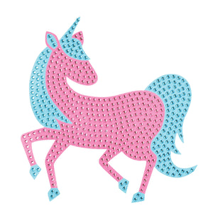 One of A Kind Bling Art-Glimmering with hundreds of rhinestones, this pink and blue mystical unicorn has a whimsical flair.