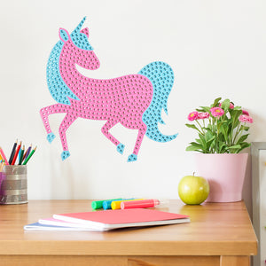 One of A Kind Bling Art-Glimmering with hundreds of rhinestones, this pink and blue mystical unicorn has a whimsical flair.  hung on wall over desk
