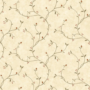 Gemma Wheat Tin Star Trail Wallpaper Wallpaper-A vine trail with petite blooms and subtle tin stars.