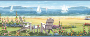 Regatta Blue Seaside Cottage Portrait Border-from the perspective of a seaside cottage. Beautiful Adirondack chairs are peacefully placed in the foreground while a regatta race is going on in the background.