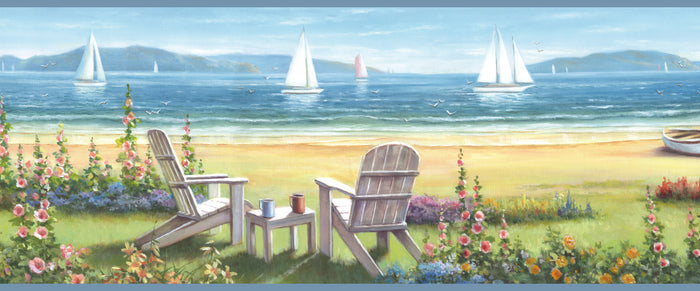 Regatta Blue Seaside Cottage Portrait Border