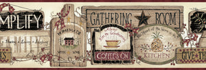 Chesapeake Alfred Red Gathering Room Signs Border-SKU#BBC20061B-Weathered, wooden signs depicting the simple pleasures are highlighted with a black, maroon, and wheat color scheme.