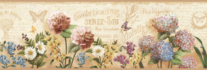 Poste Cream Springtime Trail Border-This airy border features realistic flowers and butterflies. Old, tea-soaked paper creates a backdrop with French words in the background.