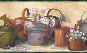 Dame Green Cottage Garden Portrait Border-has watering cans and delicate floral embellishments.
