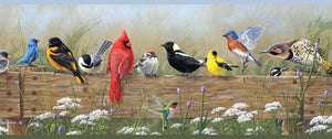Clarence Green Songbird Menagerie Portrait Border-Beautiful and vibrantly-colored songbirds are perched on top a wooden gate.