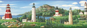 Gilead Green Lake Lighthouse Portrait Border-various lighthouses mount a grassy landscape.