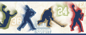Seth Blue Sports Figures Toss Border-Silhouettes are set in motion with a blurred contrasting outline of sports figures.
