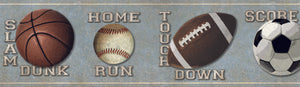 "Slam Dunk Blue Sports Toss Border-A light blue faux effect adds depth to the background of this border, while baseballs, footballs, soccer balls, and basketballs take center stage. Encouraging words and a ""go get 'em"" attitude"