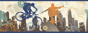 Shawn Grey Extreme Silhouettes Border-skateboarding, BMX, and a cool cityscape encompass this border. Blue, orange, and green silhouettes catch major air