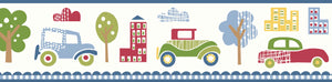 Gatsby Blue City Scape Trail Border-old-fashioned cartoon cars and city landscapes