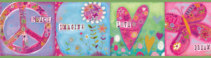 Lennon Pink Imagine Peace Block Border