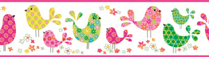 Partridge Pink Calico Birdies Toss Border-calico birds are bright, colorful, and charming! Hot pink, neon green, and vibrant yellow.