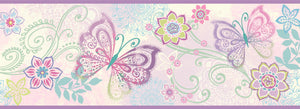 Fantasia Purple Boho Butterflies Scroll Border-paisley inspired butterflies and flowers.