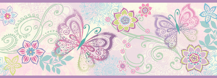 Fantasia Purple Boho Butterflies Scroll Border