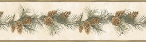 Fleming Cream Pine Boughs Trail Border-cool, grey tones, has trail of pine cones and pine boughs