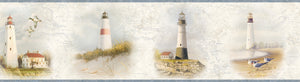 Arya White Lighthouse Coast Border-Blurred vignettes of various lighthouse scenes are floating atop a brisk background.
