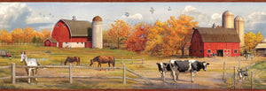 Jonny Red American Farmer Portrait Border-Red barns and farm animals, cows, horses and a dog, mix beautifully with fall foliage.