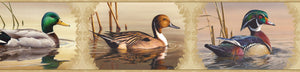 Winning Cream Waterfowl Portrait Blocks Border-Panels of beautiful, various duck species float peacefully on their ponds.