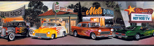 Dean Red Hot Rods Portrait Border-Four decades of hot rods, or the coolest cars ever, are put on display in front of typical scenes from the cars' era.