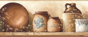 Irene Brown Simple Pleasures Portrait Border-An artistic rendering of still life, beautiful jugs, wooden bowls, and painted jars with dainty flowers resting on a shelf.