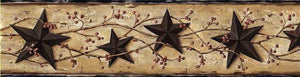 George Sand Tin Star Trail Border-Mimicking tin, nautical stars and scrolling vines with berries,