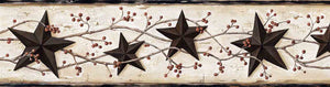 George Cream Tin Star Trail Border-this border features tin, nautical stars and scrolling berry vines on top of a snowy parchment.