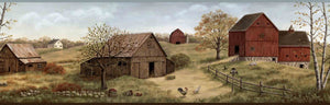 Rolling Green Farmstead Portrait Border-beautiful old barns, rolling pastures, and lively roosters.