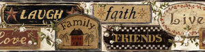 Penny White Loving Signs Portrait Border-Laughter, faith, living, love, family, and friends in old, country signage in black, maroon, and sand