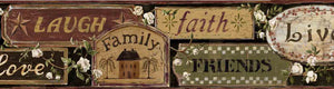 Penny Brown Loving Signs Portrait Border-country signage pinpoints what is important: friends, family, laughter, faith, and living to the fullest