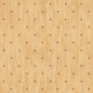 Sandalwood Sand Stencil Starburst Toss Wallpaper Wallpaper-Set atop a faux effect of wood, stenciled starburst in brown and gold.