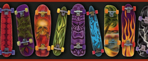 Gerry Red Skateboards Portrait Border-cool airbrushed designs on skateboards Featuring tribal, tiki, beach, lightning, flame, and skull designs!
