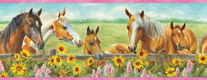 Harmony Pink Horses Sunflowers Portrait Border-grazing horses are beautifully water colored. Sunflowers and lilacs are picturesque in the foreground of this border.